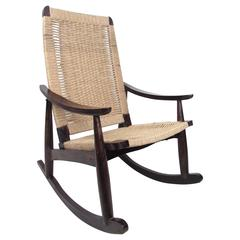 Mid-Century Modern Rocking Chair in the Style of Hans Wegner