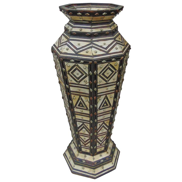 19th Century Bone, Silver, and Wood Marquetry Large Vase