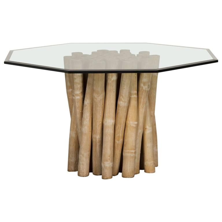 Vintage Budji Collection Bamboo Table Base, American, circa 1980, Glass Top