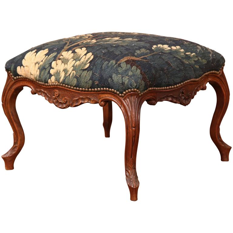 18th Century French Louis XV Carved Walnut Square Stool with Aubusson Tapestry