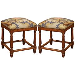 Pair of Mid-19th Century, French Square Walnut Stools with Aubusson Tapestry