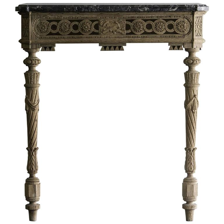 French Console Table antique french louis xvi period carved oak console table, marble