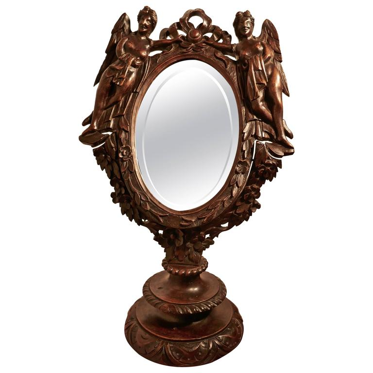Gothic Vanity For Sale Part - 20: 19th Century Gothic Walnut Vanity or Shaving Mirror, Carved with Angels For  Sale