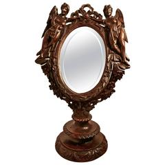 19th Century Gothic Walnut Vanity or Shaving Mirror, Carved with Angels