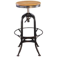 Vintage Industrial Wood and Metal Adjustable Backless Toledo Bar Stool