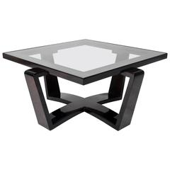 Art Deco Style Square Glass Top Coffee Table with Arched X-Form Base