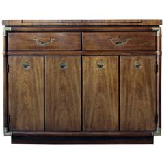 Drexel Heritage Campaign Style Sideboard or Buffet on Rollers
