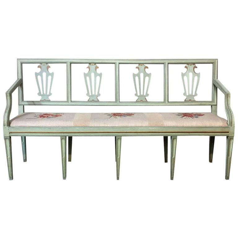 19th Century Swedish Neoclassical Painted Bench with Hand-Woven Tapestry Seat