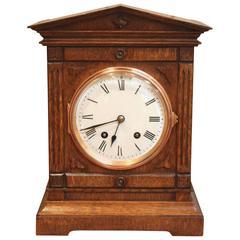 Edwardian Oak Mantel Clock by Lenzkirch