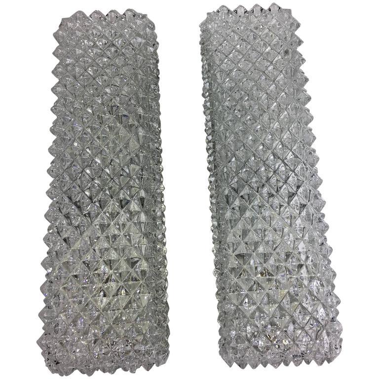 Pair of 1960s German Limburg Textured Vanity Glass Sconces