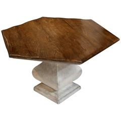 Reproduction Stone Base, Oak Top 'Hexagon' with Aged Finish