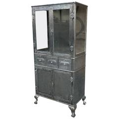 Industrial Brushed Steel Double Door Apothecary Display Cabinet