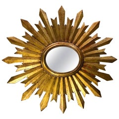 Oval Sunburst Giltwood Mirror