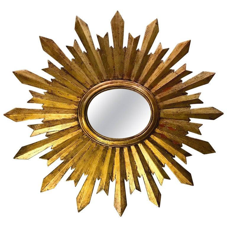 Gilt Antique Spanish Sunburst Mirror For Sale
