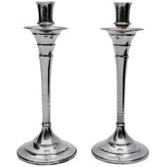 Pair of Art Deco Solid Silver English Candlesticks