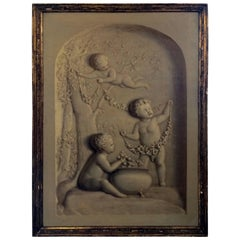 Trompe l'oeil Oil Painting of Putti in a Niche