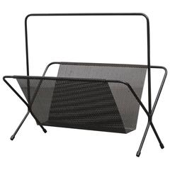 Perforated Metal Magazine Stand Attributed to Pilastro