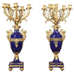 Fantastic Pair of Late 19th Century Gilt Bronze and Lapis Lazuli Candelabra