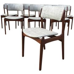 "Set of Eight Erik Buck ""Model 49"" Teak Dining Chairs"