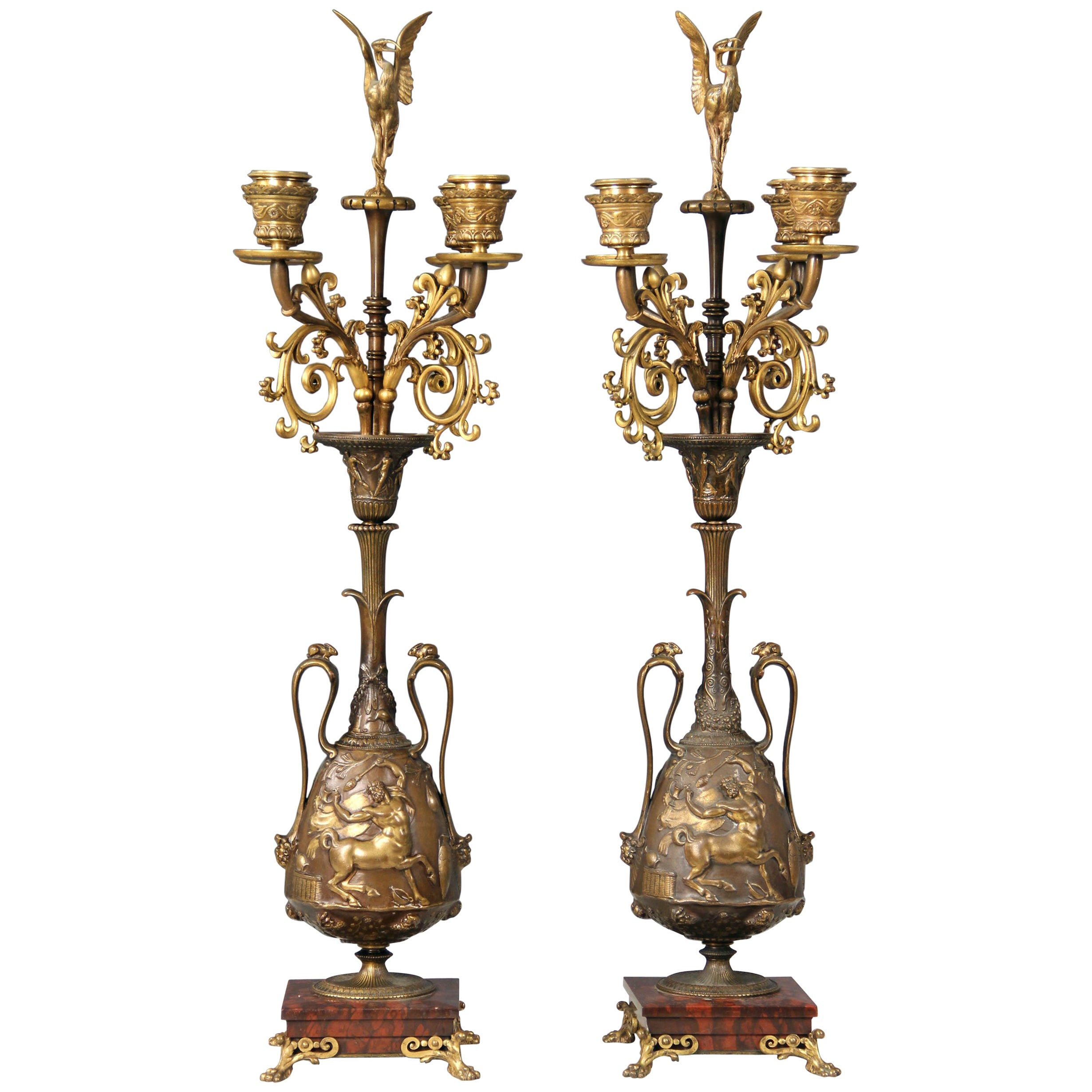 Pair of Late 19th Century Napoleon III Candelabra by Levillian and Barbedienne