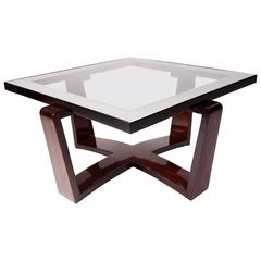 Modernist Bentwood Bauhaus Style Coffee Table with Glass Top