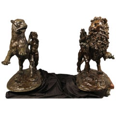 Large Pair of Early 20th Century Bronzes of a Lion and Tiger