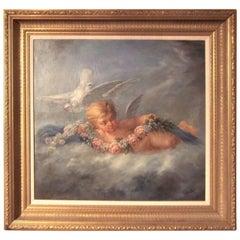 Boucher Styled Cherub or Putti Frolicking , Oil on Canvas