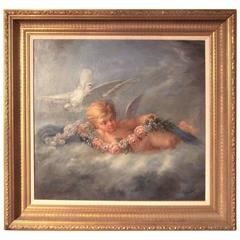 Boucher Styled Cherub or Putti Frolicking , Oil on Canvas