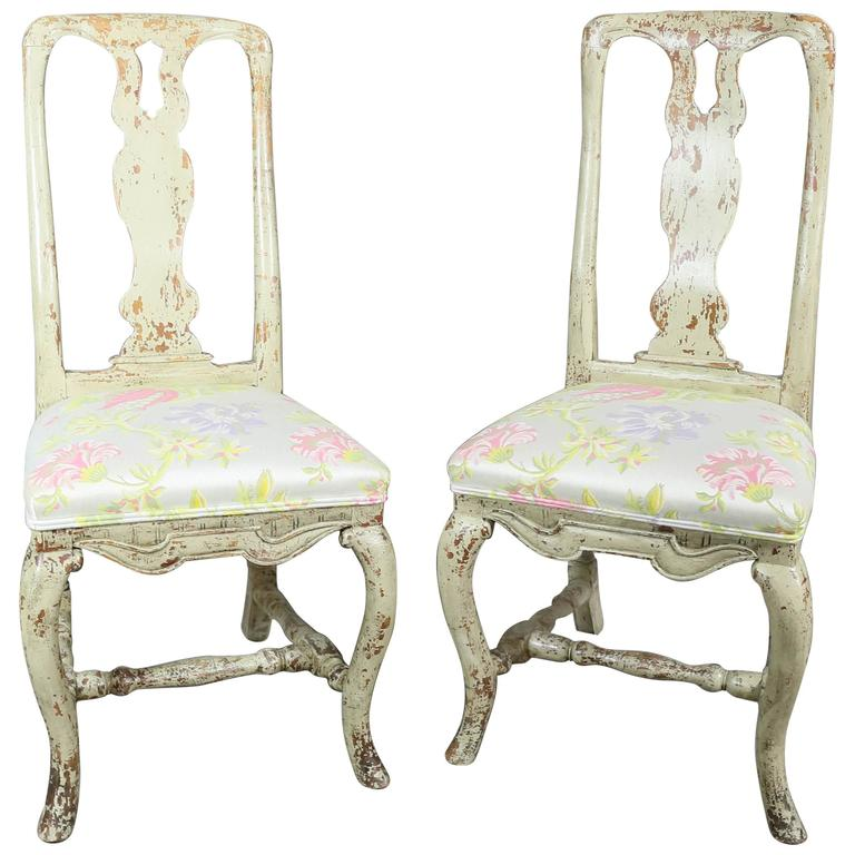 Pair of Swedish Rococo Painted Side Chairs For Sale