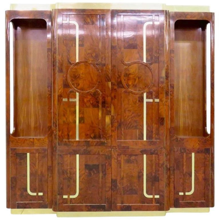 Paul Evans Burl and Brass Breakfront Sideboard for Directional