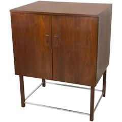 Teak and Chrome Bar Cabinet