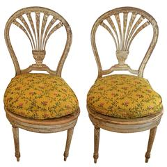 Pair of Charming Louis XVI Style Painted Side Chairs