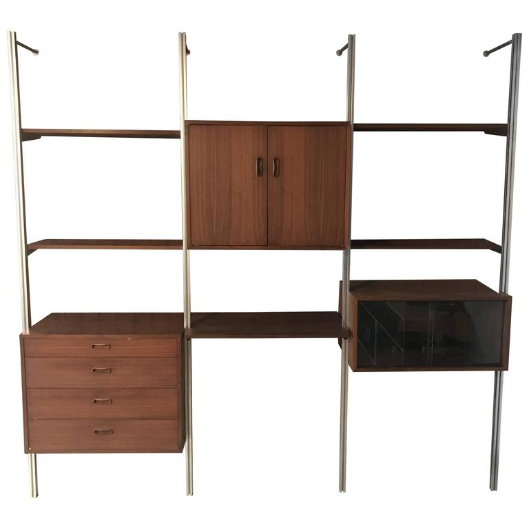 Bon George Nelson Omni Storage Wall Unit Walnut, Three Bay For Sale