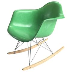 Rare Eames Herman Miller Kelly Green Arm Shell Chair on Rocker Base
