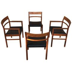 Set of Four Danish Modern Teak Dining Chairs by Kurt Ostervig