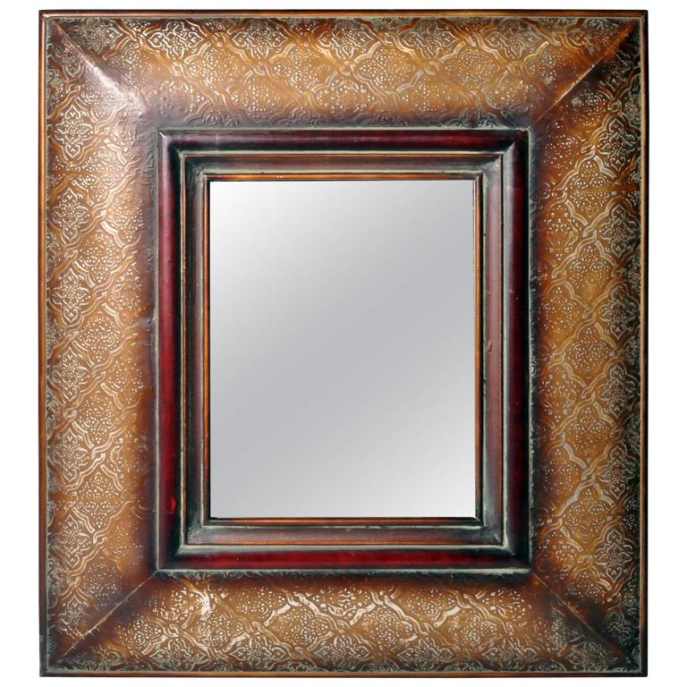 French Tooled Metal Mirror