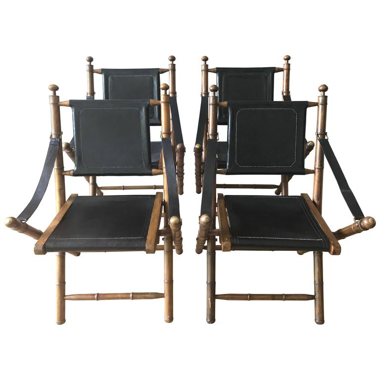 Early 1900s English Leather and Oak Folding Campaign Chairs For Sale