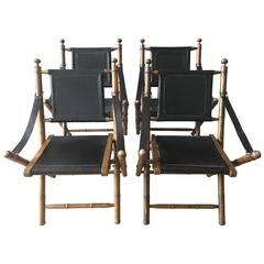 Early 1900s English Leather and Oak Folding Campaign Chairs