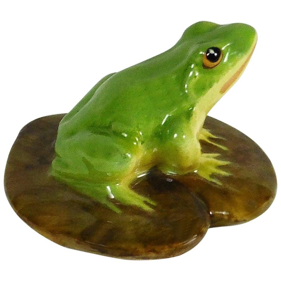 Majolica Frog on Lily Pad Jerome Massier, circa 1900