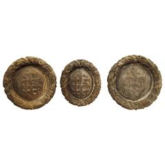 Set of Three Carved Plaques from a Church in Rouen, France, 19th Century