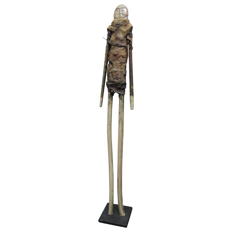 Terry Turrell Wood Figure with Stone Head
