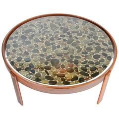 Danish Modern River Stone and Rosewood Coffee Table