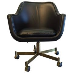 Desk Chair by Ward Bennett, Black Leather and Brass Finish