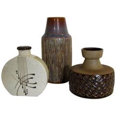 Three-Piece Collection of Danish Mid-Century Art Pottery