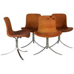Four Chairs Model 'PK-9' by Poul Kjaerholm, Kold Christensen