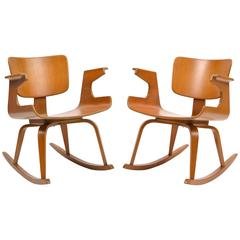 Rare 1950s Thonet Plywood Rocking Chairs