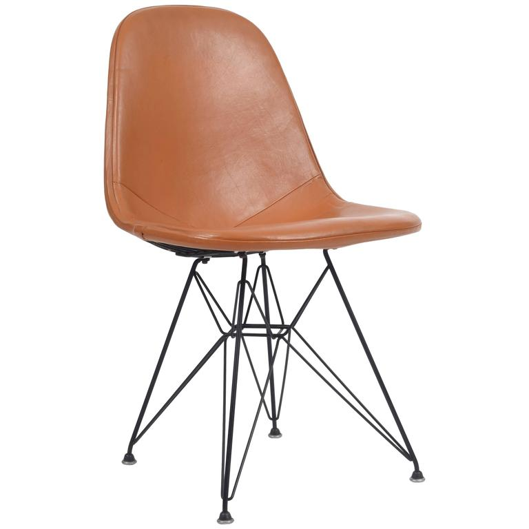 Eames Chair Leather vintage eames dkr-1 wire chair with leather seat on eiffel frame