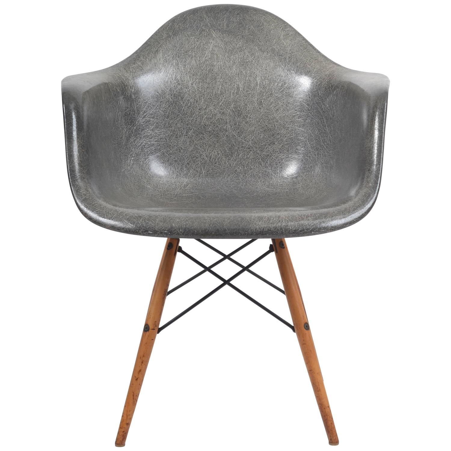 1950s Herman Miller Grey Zenith Manufactured Rope Edge Fiberglass Eames  Chair