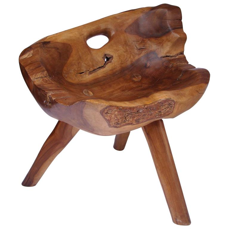 1950s French Olive Tree Stool