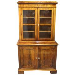 Large Glass Cabinet in Mahogany in the Style of Late Empire, 1830s